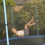 In the summer we have a trampoline in the garden