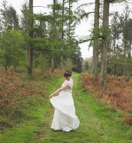 Swirling dress woods